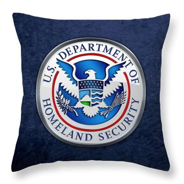 Department Of Homeland Security - D H S Emblem On Blue Velvet Throw Pillow
