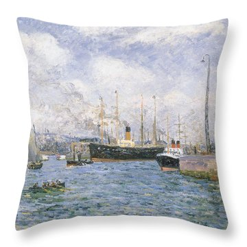 Departure From Havre Throw Pillow by Maxime Emile Louis Maufra