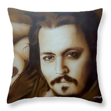 Johnny Depp - ' Depp II ' Throw Pillow by Christian Chapman Art