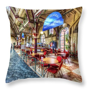 Derby Market Hall Cafe Throw Pillow by Yhun Suarez