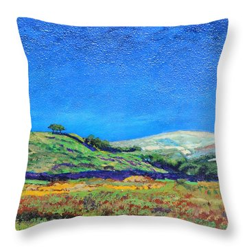 Derbyshire Landscape, 1999 Oil On Board Throw Pillow