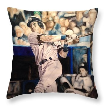 Throw Pillow featuring the painting Derek Jeter by Lance Gebhardt