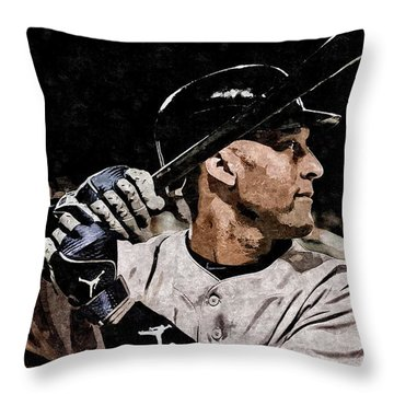 Derek Jeter On Canvas Throw Pillow