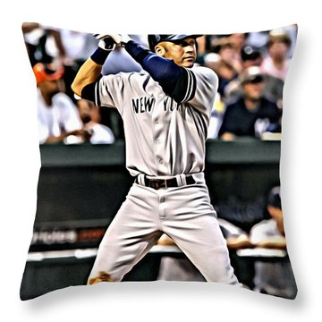 Derek Jeter Painting Throw Pillow