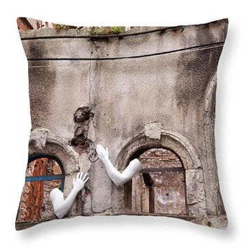 Derelict Wall Of Lost Limbs 02 Throw Pillow by Rick Piper Photography