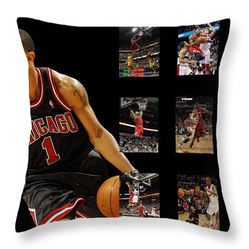 Derrick Rose Throw Pillow by Joe Hamilton