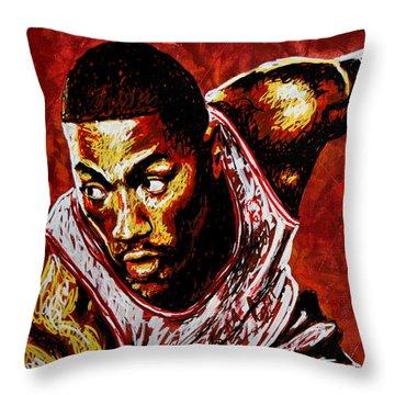 Derrick Rose Throw Pillow by Maria Arango