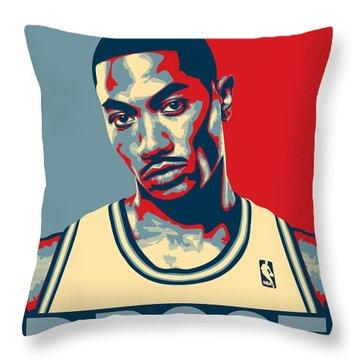 Derrick Rose Throw Pillow by Taylan Apukovska