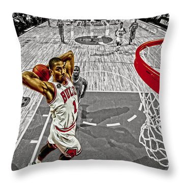 Derrick Rose Took Flight Throw Pillow