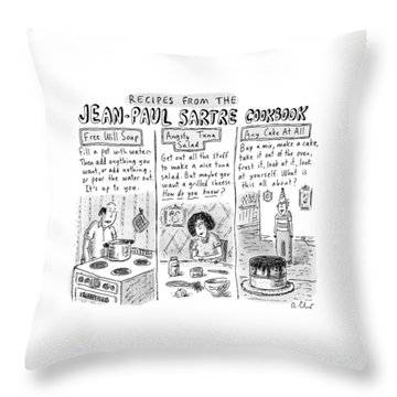 Descriptions Of Jean-paul Sartre Cookbook Recipes Throw Pillow