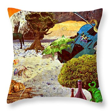 Throw Pillow featuring the mixed media Desert Blues by Ally  White