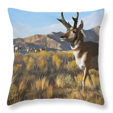 Throw Pillow featuring the painting Desert Buck by Rob Corsetti