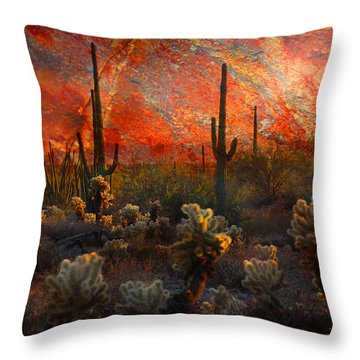 Throw Pillow featuring the photograph Desert Burn by Barbara Manis