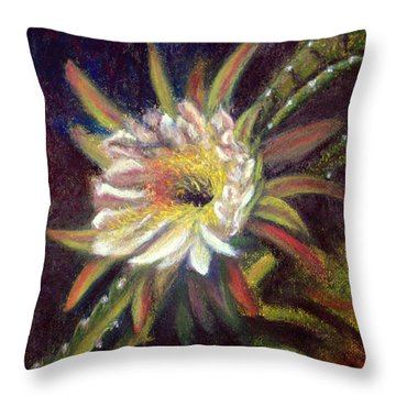Throw Pillow featuring the pastel Desert Gift Orchid Cactus  Pastel by Antonia Citrino