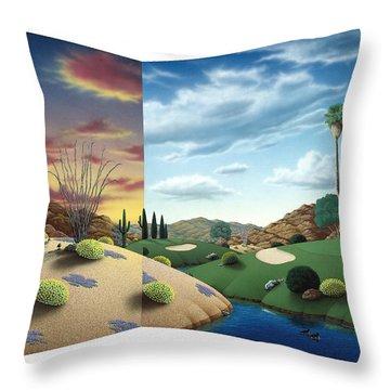 Desert Golf Throw Pillow by Snake Jagger