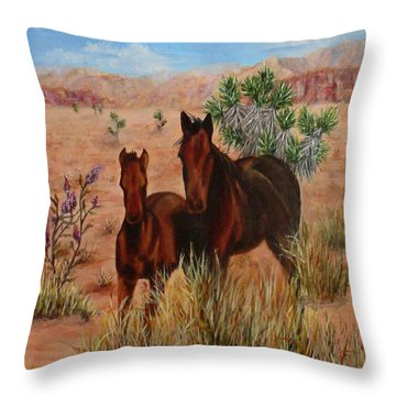 Desert Horses Throw Pillow