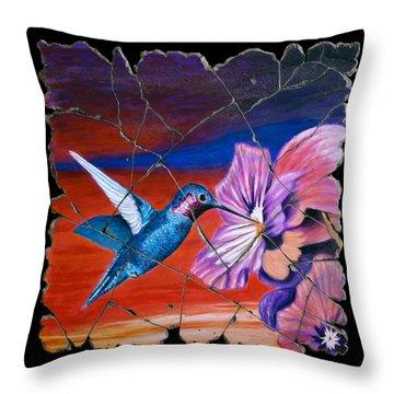 Desert Hummingbird Throw Pillow by Steve Bogdanoff