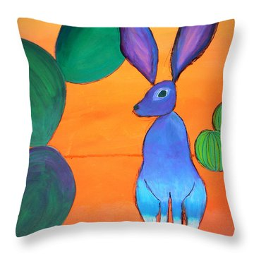 Desert Jackrabbit Throw Pillow