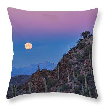 Desert Moonset Throw Pillow