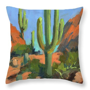 Desert Morning Saguaro Throw Pillow