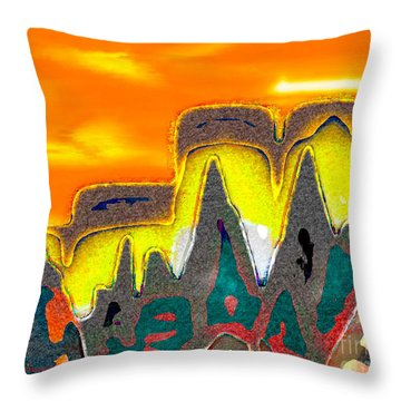 Desert Mountain Abstract Throw Pillow by Dee Flouton
