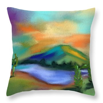 Desert Oasis Throw Pillow by Frank Bright