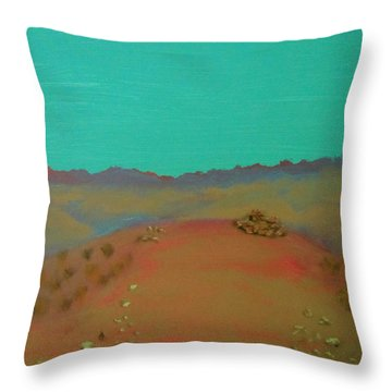 Throw Pillow featuring the painting Desert Overlook by Keith Thue