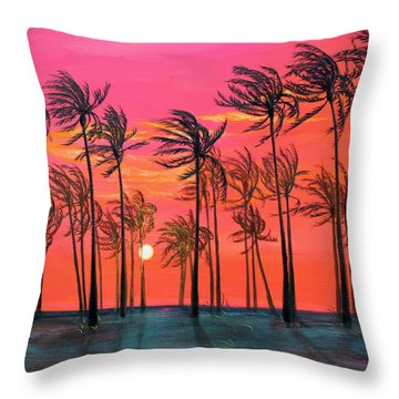 Desert Palm Trees At Sunset Throw Pillow by Asha Carolyn Young