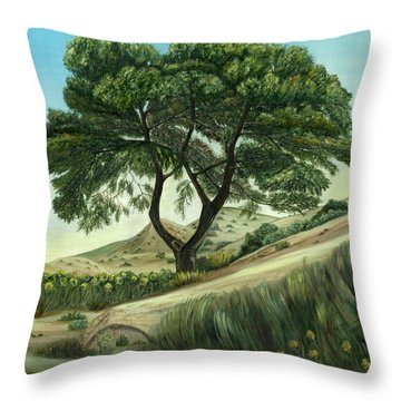 Throw Pillow featuring the painting Desert Pine by Angeles M Pomata