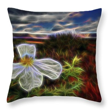 Throw Pillow featuring the digital art Desert Primrose 1 by William Horden