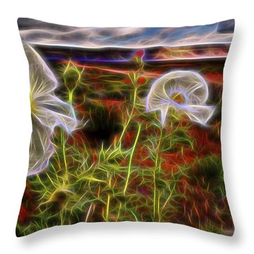 Throw Pillow featuring the digital art Desert Primrose 2 by William Horden