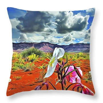 Throw Pillow featuring the digital art Desert Primrose 3 by William Horden