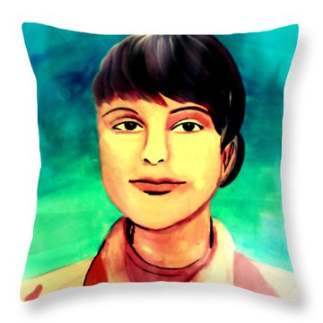Throw Pillow featuring the painting Desert Storm Jennifer by Michelle Dallocchio