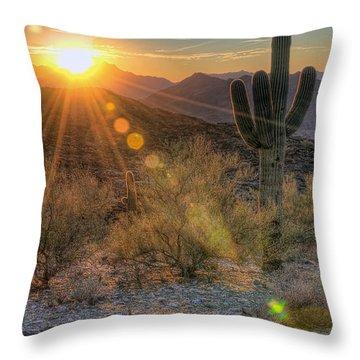 Throw Pillow featuring the photograph Desert Sunset by Eddie Yerkish