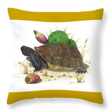 Desert Tortoise Throw Pillow by Cindy Hitchcock