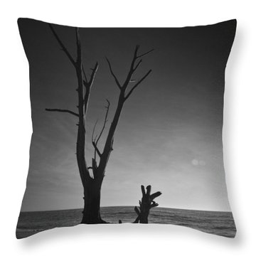 Deserted Beach Sunset Throw Pillow