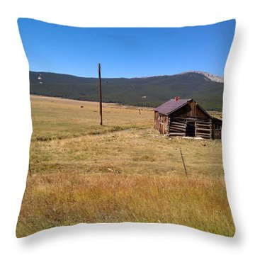 Throw Pillow featuring the photograph Deserted Cabin by Fortunate Findings Shirley Dickerson