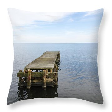 Deserted Jetty Throw Pillow