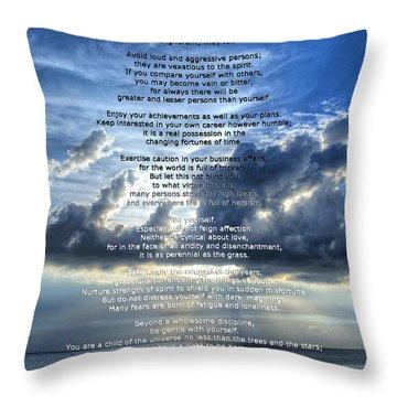 Desiderata 7 - Inspirational Art By Sharon Cummings Throw Pillow