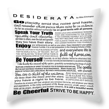 Desiderata - Black And White Square Throw Pillow by Ginny Gaura
