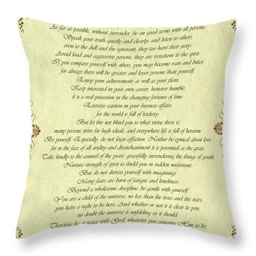 Desiderata Gold Bond Scrolled Throw Pillow