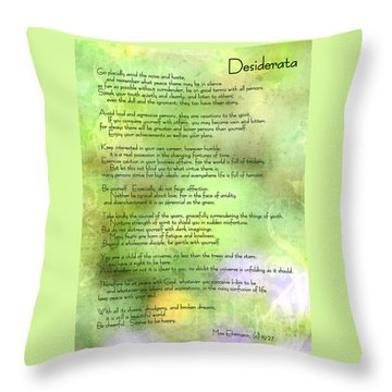 Desiderata - Inspirational Poem Throw Pillow