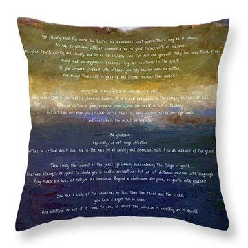 Desiderata Lll Throw Pillow by Michelle Calkins