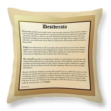 Desiderata Old English Square Throw Pillow by Christina Rollo