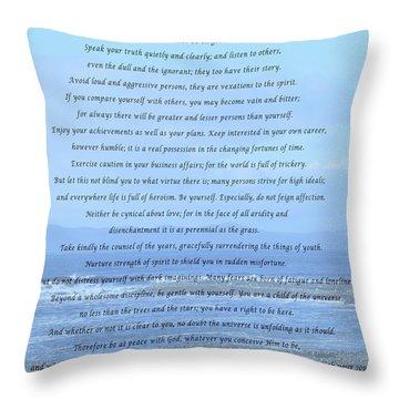 Desiderata On Beach And Ocean Scene Throw Pillow by Barbara Griffin