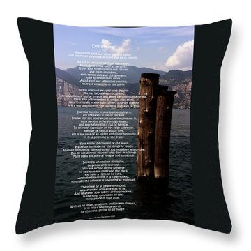 Desiderata On Lake View Throw Pillow