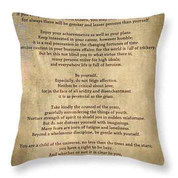 Desiderata - Scrubbed Metal Throw Pillow