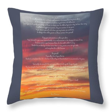 Desiderata Sky 2 Throw Pillow by Terry DeLuco