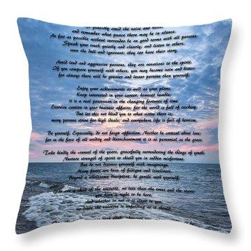 Desiderata Wisdom Throw Pillow