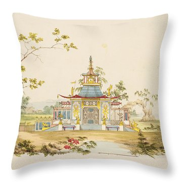 Design For A Chinese Temple, C.1810 Throw Pillow
